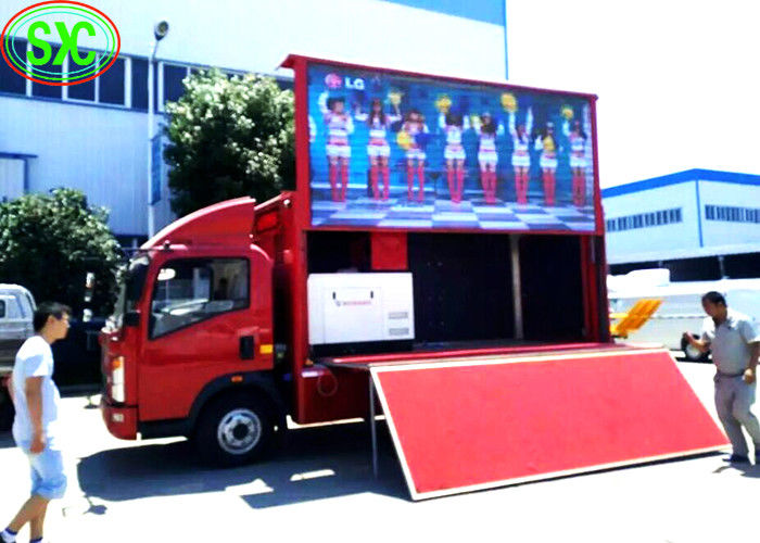 outdoor p6  full color advertising led screen installed on a  truck with high brightness